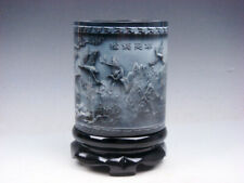Top Quality Stone Carved In Relief Cranes & Pine Trees Brush Pen Holder Pot #G