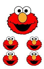 1 LARGE & 4 SMALL ELMO FACE SESAME STREET IRON T SHIRT TRANSFERS WHITE FABRICS