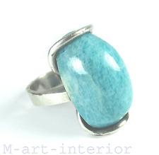 Designer Ring 925 Sterling Silber Amazonit Meisterpunze Art Deco Bauhaus vintage