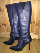 Jimmy Choo Navy Calf Leather Knee High Boots Size EU 39 UK 5 -5.5 RRP £1200