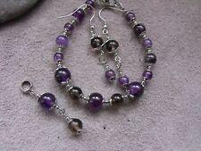 unique STAINLESS STEEL AMETHYST & SMOKY QUARTZ BRACELET earrings pendant