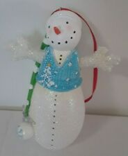 Glitter Snowman Christmas 4.5 Inch Ornament W/ Beaded Arms & Green White Hat