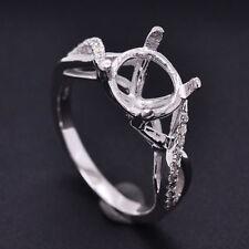 9.0mm Round Cut Solid14K 585 White Gold Natural Diamonds Semi Mount Fashion Ring