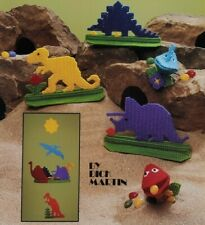 "1988 ""Dinosaurs In Plastic Canvas"" Pattern Booklet 15 Designs Kids Decor 6106F"
