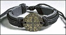 St. Benedict Medal Leather Bracelet NEW  (PC757) adjustable