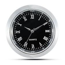 "Mini Clock Insert Quartz Movement Round 1 7/16"" (35mm) Black Face Roman Numerals"