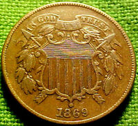 1869 Two Cent Piece 2c ~ A VERY NICE BETTER DATE COIN w/ SOLID DETAILS 82VN
