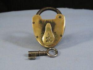 BRITISH MAKE HAND MADE BRASS ANTIQUE VICTORIAN GATE DOOR PADLOCK LOCK & KEY