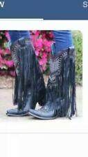 CORRAL WESTERN BOOTS: BLACK & MULTI-COLOR CRYSTAL PATTERN WITH FRINGE - LEATHER