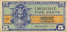 US / MPC  5  Cents  ND. 1952  Series  521  Plate # 73  Circulated Banknote M7
