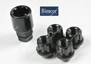 Alloy Wheel Locking Nuts Black Bimecc Open M14x1.5 Ford transit Custom 2013>