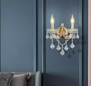 K9 Contemporary Crystal 2 Candles Wall Light Chrome/Gold/Amber/Champagne +BULBs