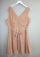 TOKITO Brand Apricot Printed Zip Front Sleeveless Dress Size 16 BNWT #SZ32