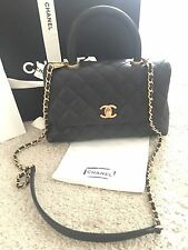 CHANEL Coco Handle Black Caviar With Gold chain Mini Purse Handbag Flag Bag
