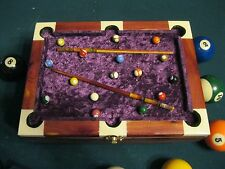 CEDAR  WOOD POOL TABLE JEWELRY BOX PURPLE TOP AND INNER LINNING