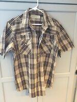 Bit & Bridle Short Sleeve Pearl Snap Western Shirt Women's XL Brown Plaid