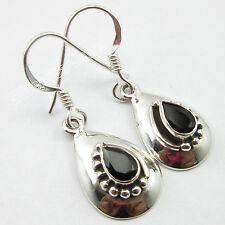 "Authentic DROP CUT BLACK ONYX Gem ! 925 Sterling Silver TIBETAN Earrings 1.3"""