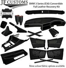 WHITE STITCH LEATHER COVERS FOR BMW 3 SERIES E30 CONVERTIBLE FULL INTERIOR KIT