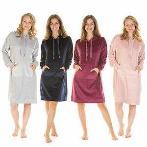 Womens/Ladies Velour Nightdress Long Sleeve Hooded Nightie Size 8-22