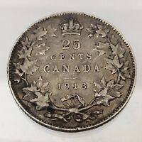1913 Canada Twenty Five 25 Cents Canadian Quarter 925 Silver Coin B502