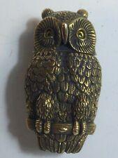 BRASS NOVELTY OWL VESTA MATCH STRIKE BOX