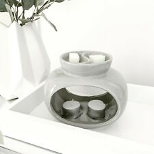 Grey Ceramic Oil Burner Wax Melts Tealights Candle Holder Diffuser Gift Rome