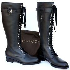 GUCCI New sz 39.5 - 9.5 Authentic Designer Riding Womens Zip Shoes Boots Black
