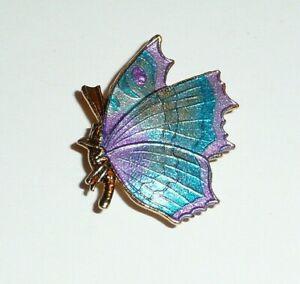 """Blue & Purple Side View Butterfly Metal Shank Button 1""""x7/8"""" Multi Col Butterfly"""