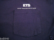 Mens XL Tshirt ETS Exco USA Tooling Solutions Pocket Navy Blue Canada Columbia