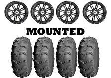 Kit 4 ITP Mud Lite XL Tires 25x8-12/25x10-12 on STI HD3 Gloss Black Wheels IRS