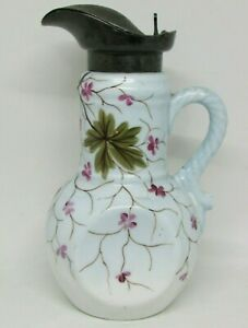 Antique Hand Painted Milk Glass Creamer Syrup Pitcher