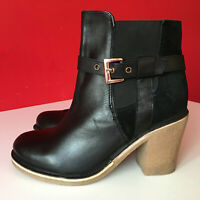 NEW Look Black Leather Block Heel Chelsea Ankle Boots Look Size UK 5 EUR 38