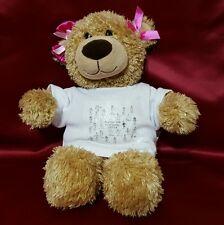 """Tan Shaggy Plush Build a Bear Teddy Bear with Kindergarten shirt 14"""""""