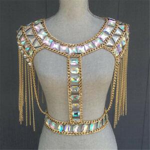 Body Chest Crystal Crop Top Punk Rhinestone Metal Chain Tassel Camis clubwear