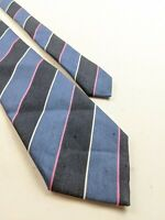 Charvet LINEN SILK Tie Blue Pink Striped Made In France hard to find