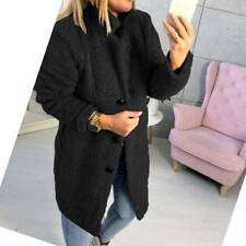 UK Women Winter Coat Ladies Fluffy Fur Warm Casual Long Jacket Outwear Size 8-22