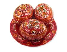 3 Red Ukrainian Wooden Easter Eggs Pysanky on Hand Painted Plate 2 5/8 Inch