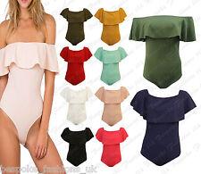 Womens Ladies Off Shoulder Peplum Frill CREPE Leotard Bodysuit Top Sleeveless