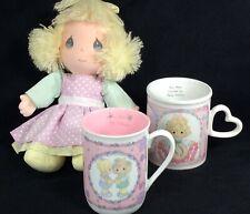 Precious Moments Collectible Lot- Applause Doll 1990 + 2 Enesco Cups Mugs- Euc