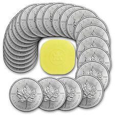 Lot 25 pieces argent Maple Leaf du Canada 5 dollars 1 oz silver coins + tube