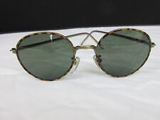 Vintage Green Tinted Lens Sunglasses Brown Tortoiseshell Metal Frame Semi-Round