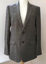 Men's Zara Brown Beige Check Blazer Wool Jacket Size EUR 56 UK 46