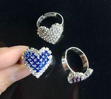 Lot 12Pcs Fashion Adjustable Size Rhinestone Cute Heart Love Girl Gift Ring