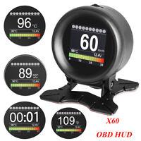 Digital OBD2 HUD Speedometer Speed Alarm KMH/MPH Fault Code Reader Fuel Gauge