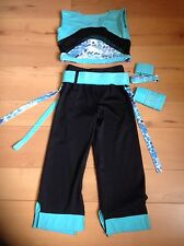 BLUE AND BLACK FREESTYLE DISCO COSTUME CROP TROUSERS  B4