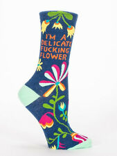 Women's Crew socks, I Am Delicate F***** Flower, Blue Q, Cotton, One Size, Funny