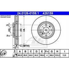 ATE 2x Bremsscheiben Innenbelüftet beschichtet 24.0126-0159.1