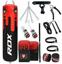 RDX 5ft Filled Boxing Punch Bag Set With Chains & Ceiling Hook MMA Training