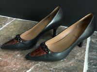 Circa Joan & David Luxe Series Black Leather Pointy Toe Chain Pumps Women Size 7
