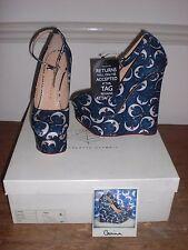 Charlotte Olympia-Carina-Silk Crescent Moon Chaussures-NWB - 35.5/2.5 UK
